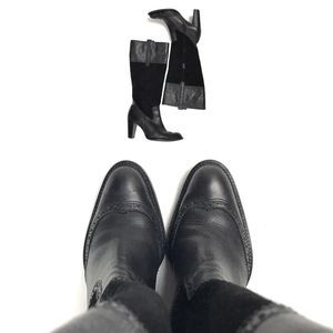 ❗️Tall Black Leather Brogue Wingtip Boots 8.5